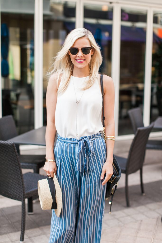 Striped Blue Amp White Palazzo Pants Curated By Courtney