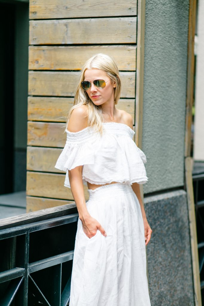 gold-ray-bans-cream-and-white-off-teh-shoulder-top