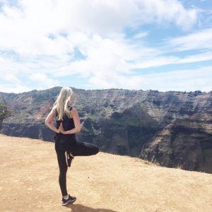 Courtney Bier Yoga in Hawaii Tree Pose with Reverse Prayer Hands